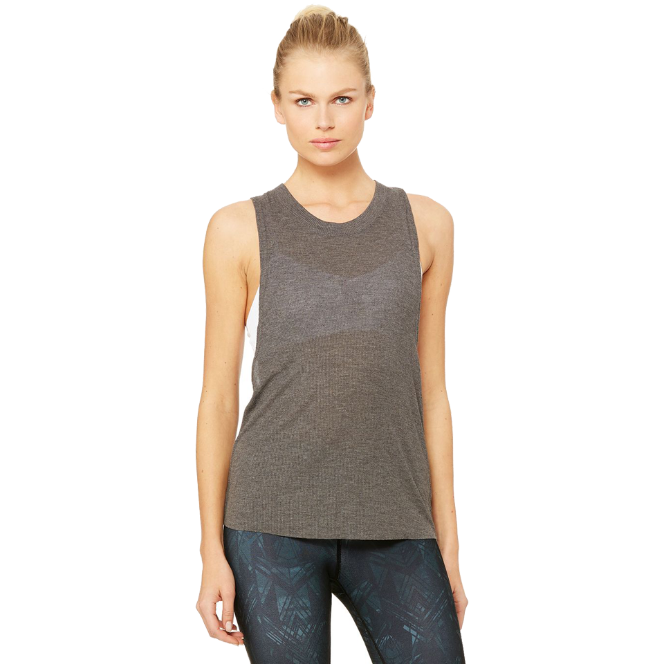 Alo Women's Heat-Wave Tank Dark Heather Grey