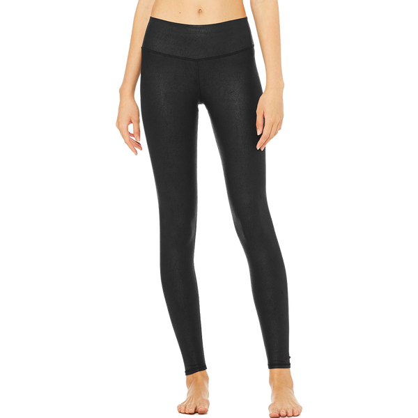 Alo Yoga Women's Airbrushed Legging Black Performance Leather