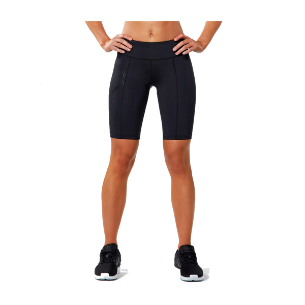 2XU Women's Mid Rise Compression Short Black/Dotted Black
