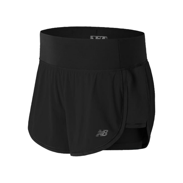 "New Balance Women's Impact 4"" 2in1 Short Black"