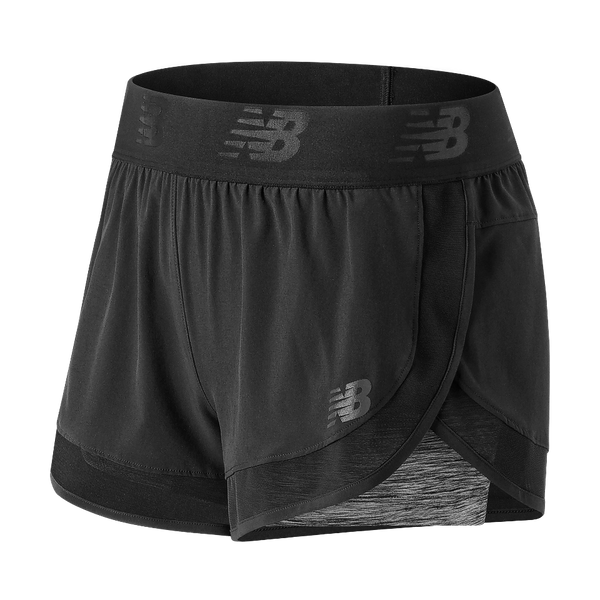 New Balance Women's Mixed Media 2-in-1 Short Black