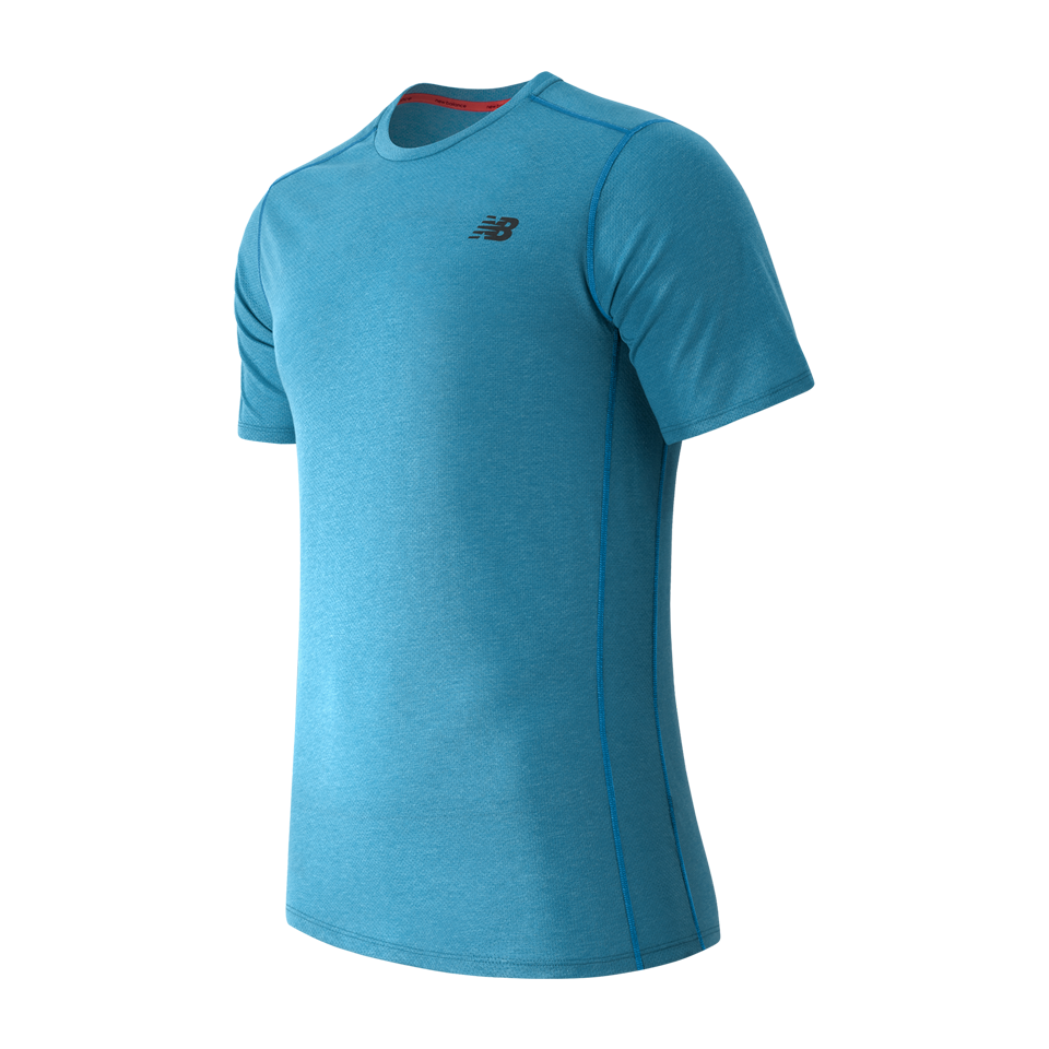 New Balance Men's Pindot Flux Short Sleeve Shirt Barracuda Blue