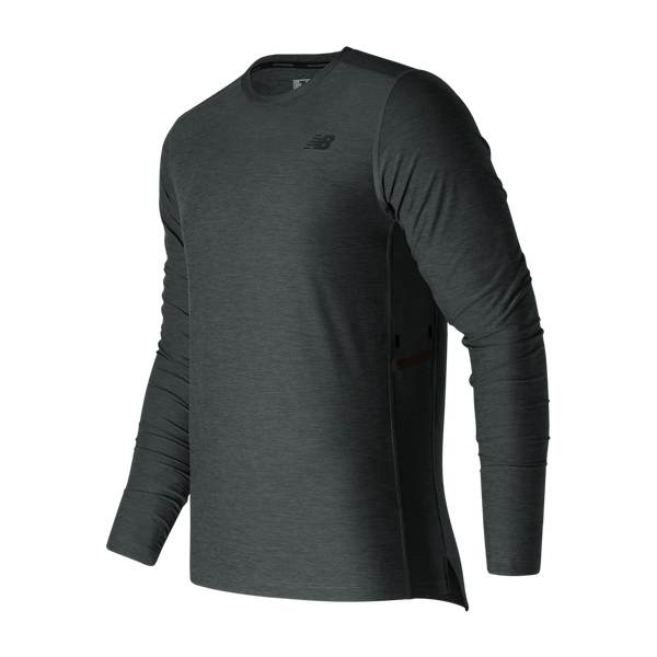 New Balance Men's Transit Long-Sleeve Top Heather Charcoal