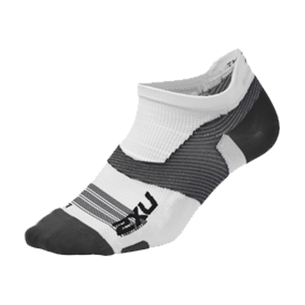 2XU Vectr Ultralight No Show Socks White/Grey