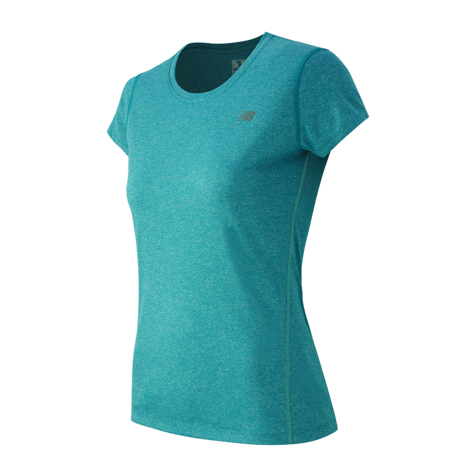 New Balance Women's Heathered Short Sleeve Deep Ozone Blue Heather