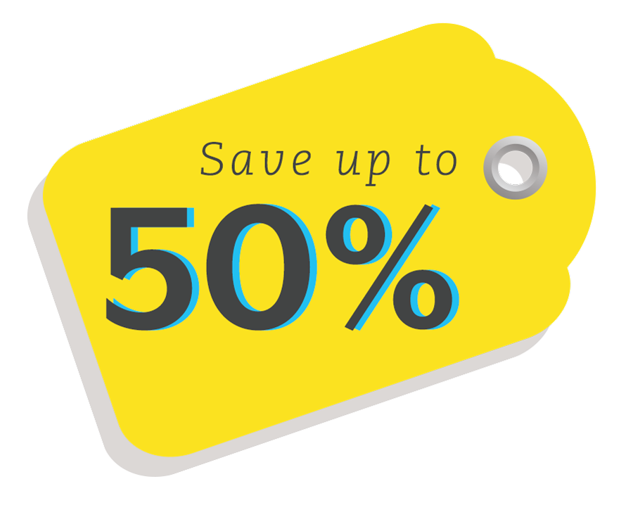Save up to 50%