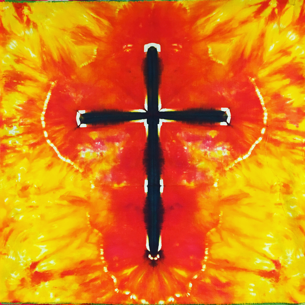 "Tie-Dye - 21"" Square - #16B012 - Ebony Cross Tie Dye - One only"