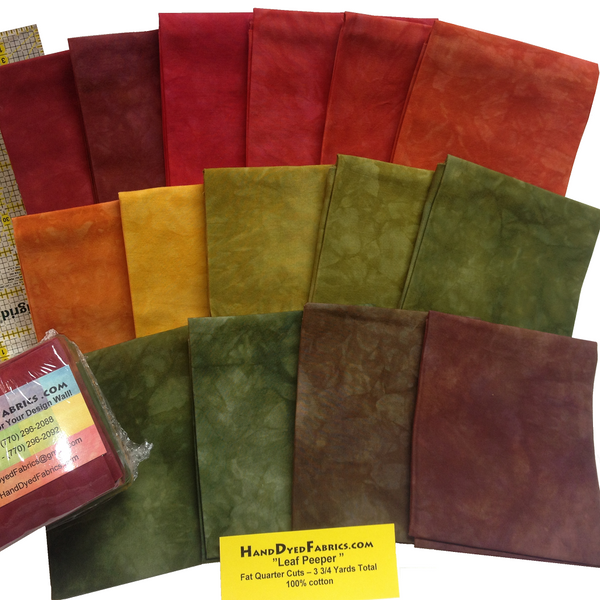 Multi-Color Gradation - Leaf Peepers - Hand Dyed Cotton - Reds to Greens Color Gradation