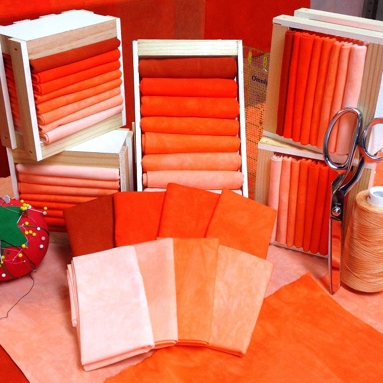 Hand Dyed Fabric Collection - Orange shades of hand dyed cottons