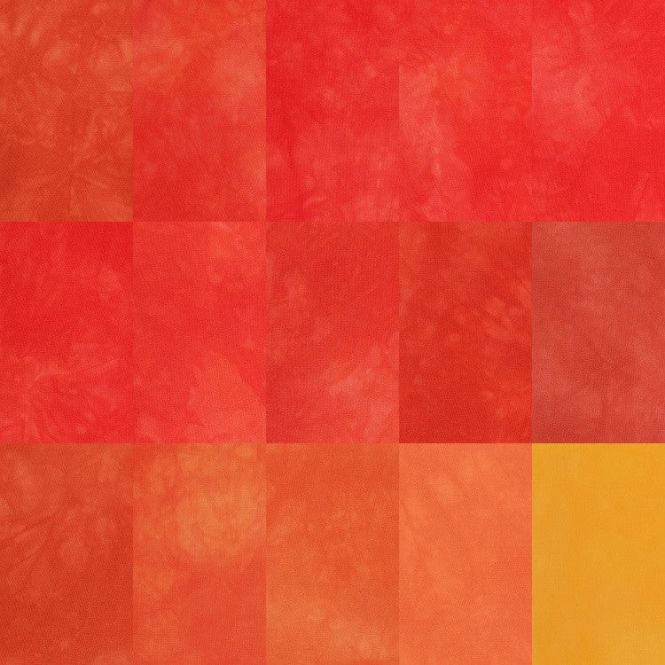 Hand Dyed Fabric - Reds Oranges Yellow quilting cotton