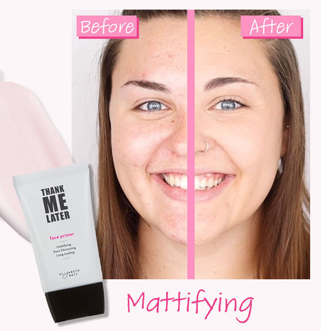 Elizabeth Mott Thank Me Later Mattifying Primer Before And After