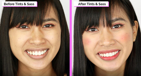 Elizabeth Mott Tints And Sass Lip and Cheek Stain Applied Before And After Picture