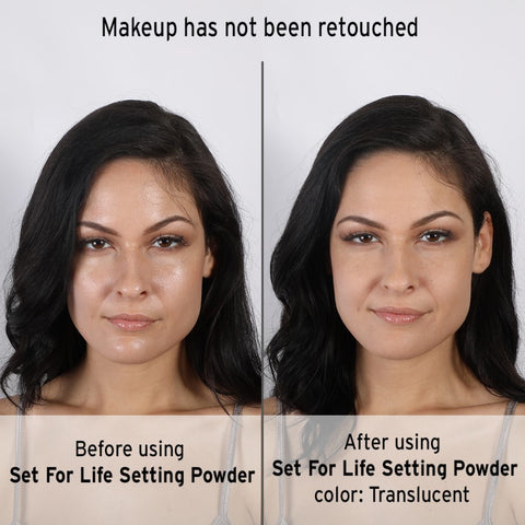 Cruelty-free Set For Life Setting Powder Before And After use Photo