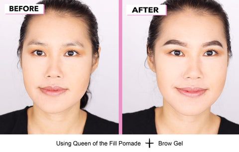 Before and after picture of  Elizabeth Mott brow pomade and gel