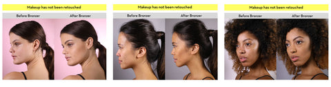 Elizabeth Mott Bronzer Picture Before and After On Different Skintones