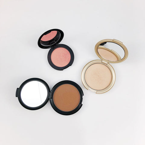 cold weather beauty products including luminous bronzer, highlighter and blush from Elizabeth Mott