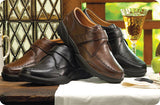 Frank, Men's Dress Shoe with Strap Closure in Black or Bark