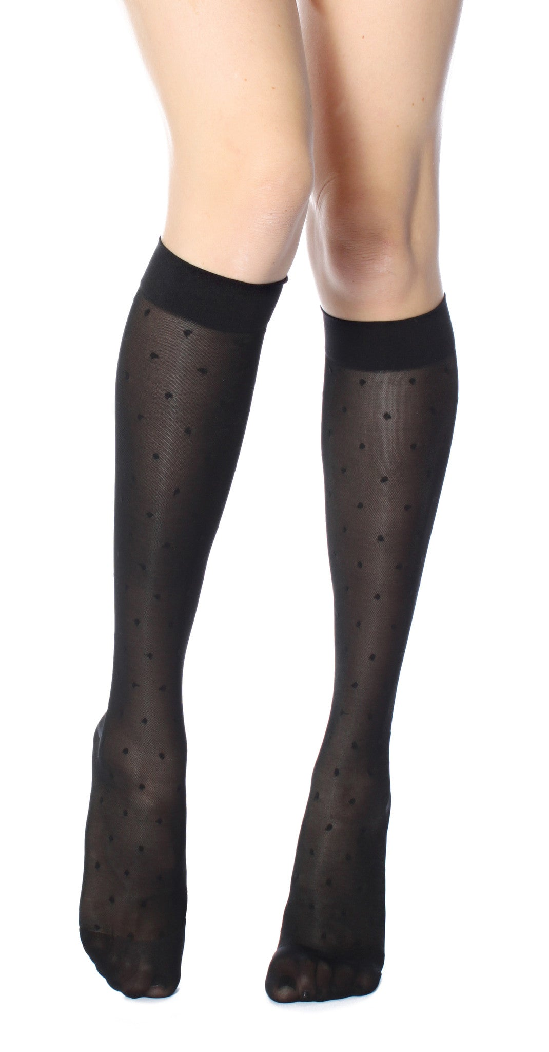 Women's Rejuva® Sheer Dot Knee High Support Hose in Black, Plum, Ash and Buff