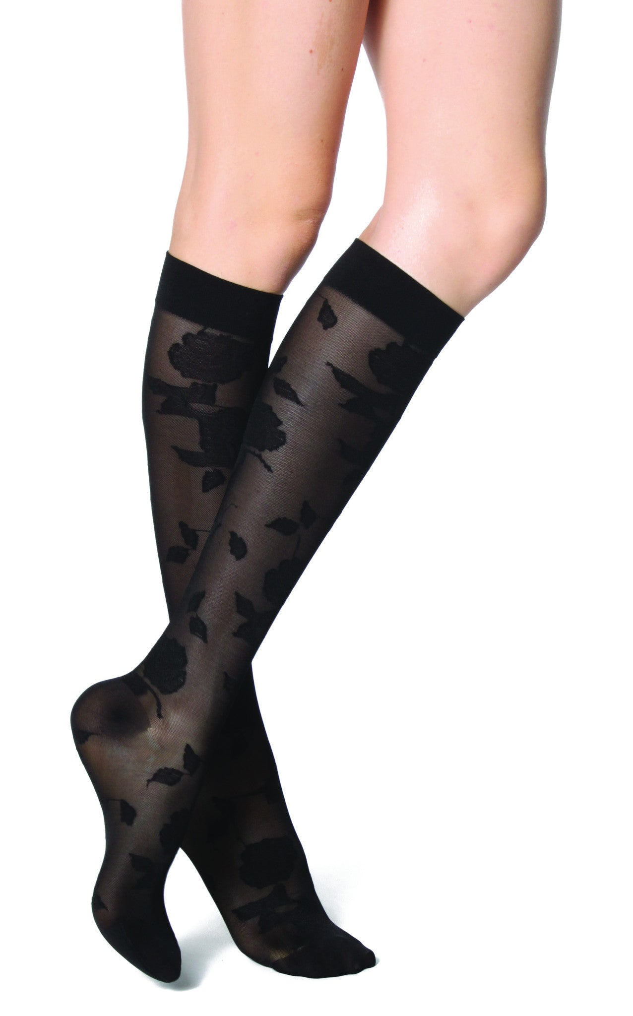 Women's Rejuva® Sheer Floral  Knee High Support Hose in Black