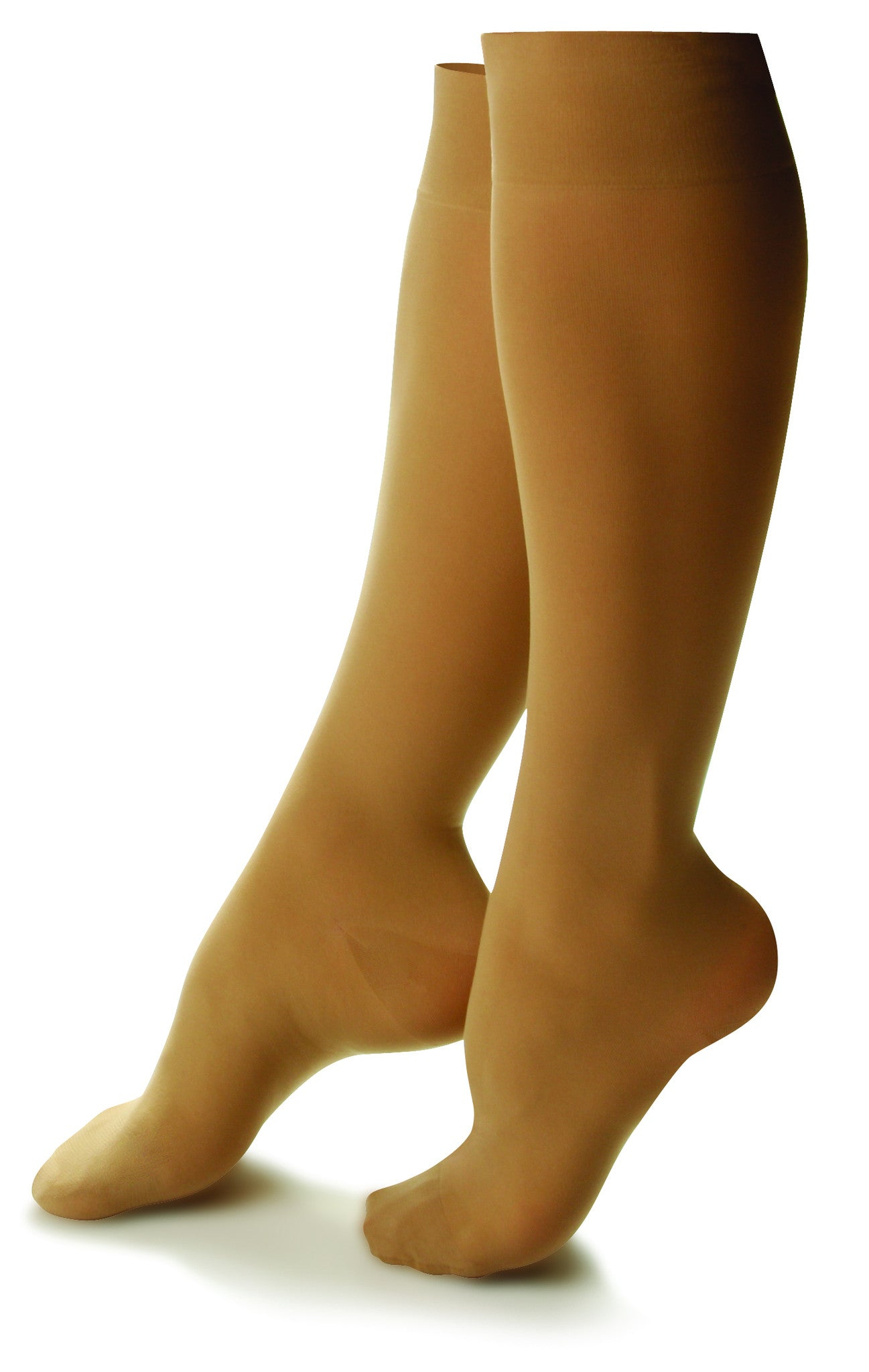 Women's Sheer Comfort Knee High Support Hose in Black, Honey, or Nude