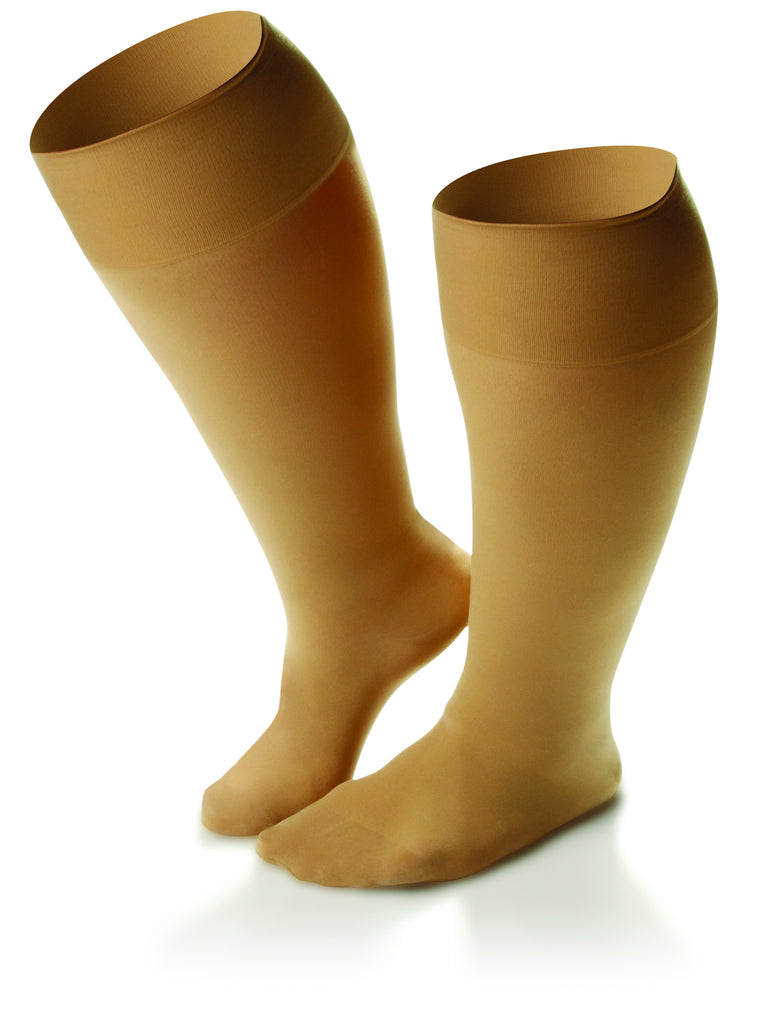 Women's Sheer Comfort Knee High Extra Roomy Support Hose in Black or Nude