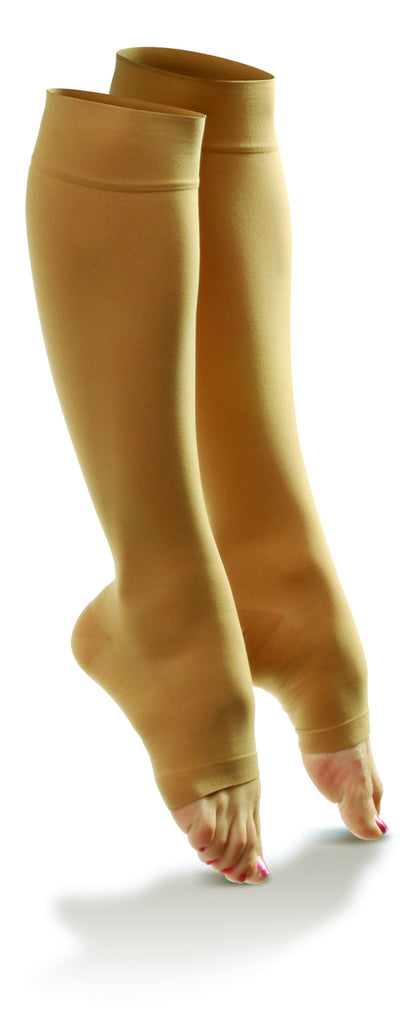 Women's Sheer Comfort Knee High Open Toe Support Hose in Black, Honey, or Nude