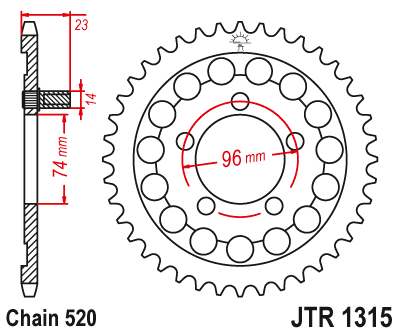 JTR 1315 Rear Sprocket
