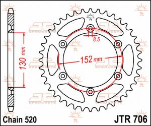 JTR 706 Rear Sprocket