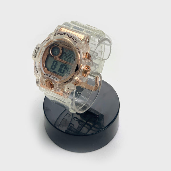 Reloj digital transparente caratula rose gold