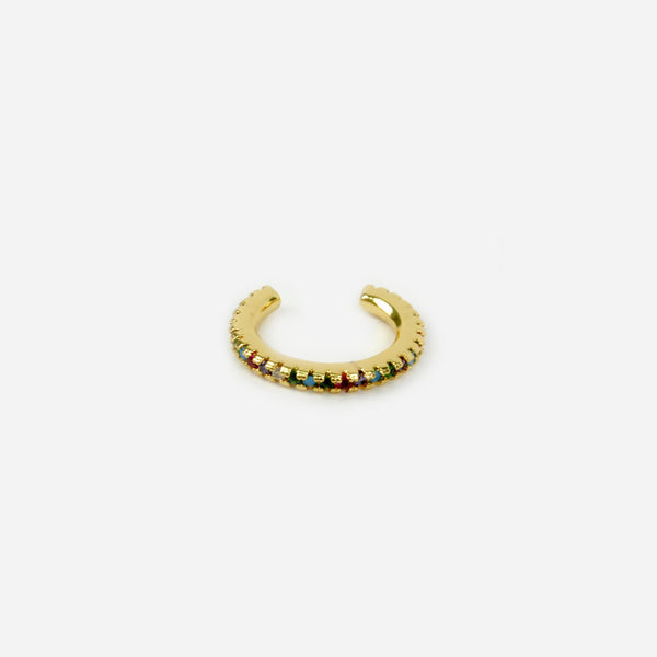 Ear cuff dorado y multicolor