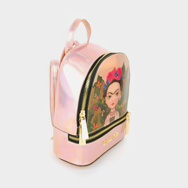 Mochila mini rose gold Frida Kahlo