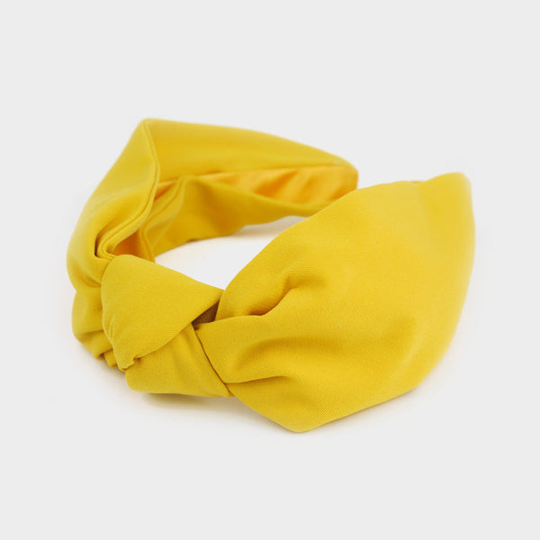 Diadema turbante estampado liso amarillo