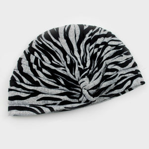 Turbante ajustable estampado de cebra