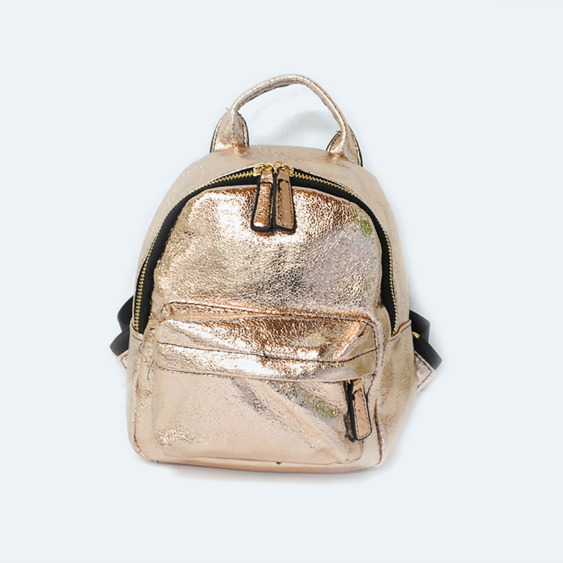 Mochila mini rose gold metálica. HBG0207RG