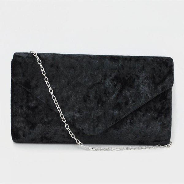 Bolsa rectangular de velvet color negro