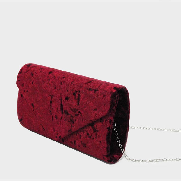 Bolsa rectangular de velvet color vino