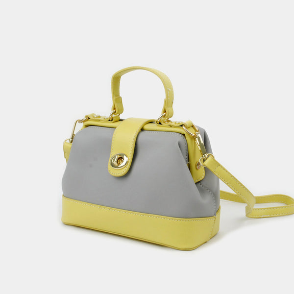Bolsa cruzada mini color gris y amarillo
