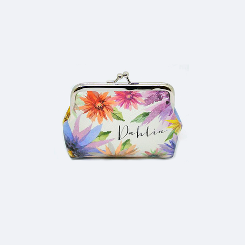 MONEDERO COLOR BEIGE CON ESTAMPADO DE FLORES HD0003