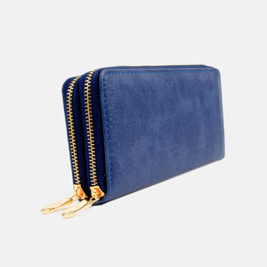 Cartera azul lisa