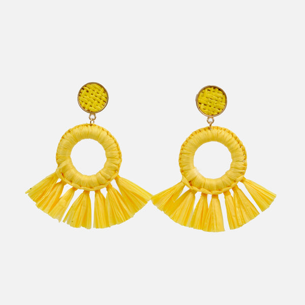 Aretes rafia color amarillo