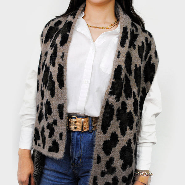 Chaleco gris estampado animal print
