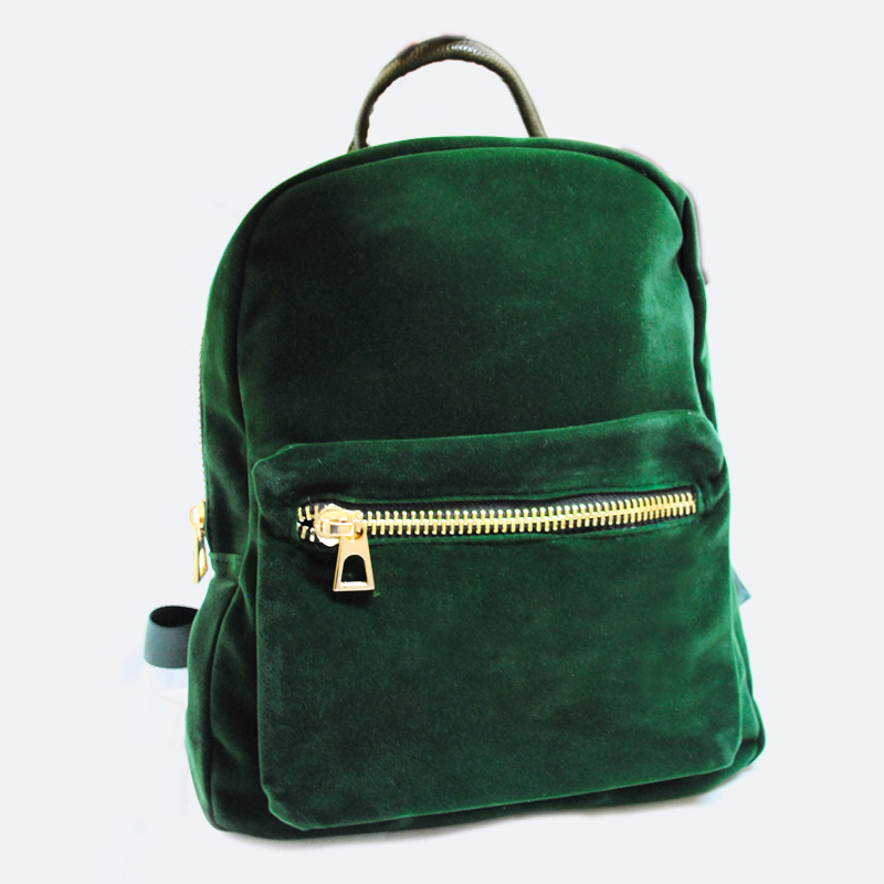 GREEN VELVET BACKPACK HBG0102GR