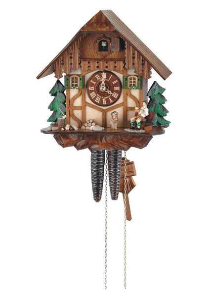 "Schneider 11"" Black Forest Resting Wood Chopper German Cuckoo Clock - GermanGiftOutlet.com"