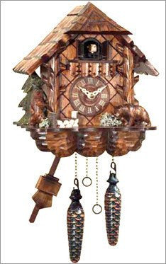 Black Forest Chalet German Cuckoo Clock with Carved Bears - GermanGiftOutlet.com