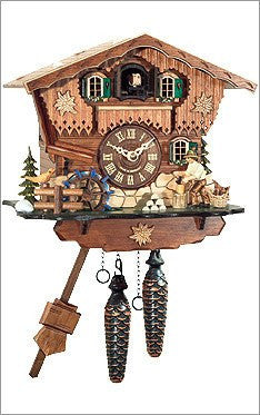 Black Forest Chalet German Cuckoo Clock with Wood Chopper - GermanGiftOutlet.com