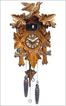 Black Forest - German Cuckoo Clock With Leafs And Bird - GermanGiftOutlet.com