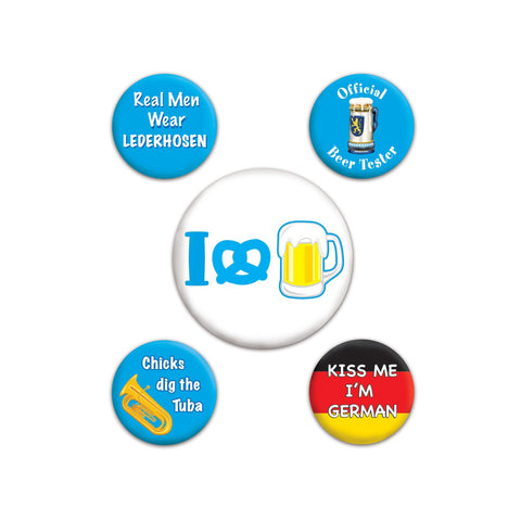 "Assorted Oktoberfest Party Buttons 2-1/3"" & 1-1/3"" - GermanGiftOutlet.com"