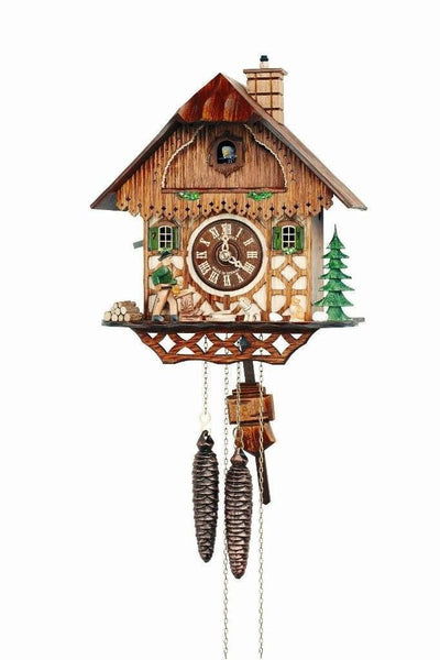 "Schneider 11"" Black Forest Wood Chopper Eight Day Movement German Cuckoo Clock - GermanGiftOutlet.com"