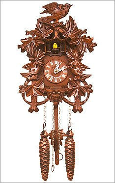 Black Forest Chalet cuckoo clock with birds and oak leaves - GermanGiftOutlet.com