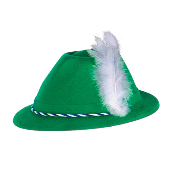 Oktoberfest Costume Green Velour Tyrolean Hat - GermanGiftOutlet.com